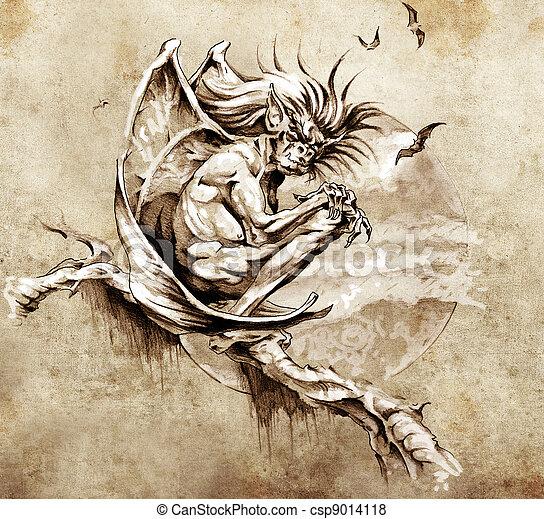 Schizzo, tatuaggio, arte, doccione, mostro, seduta, albero