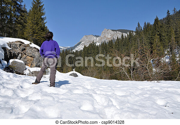 Snowy mountains in the Carpathians, Transylvania, Romania - csp9014328
