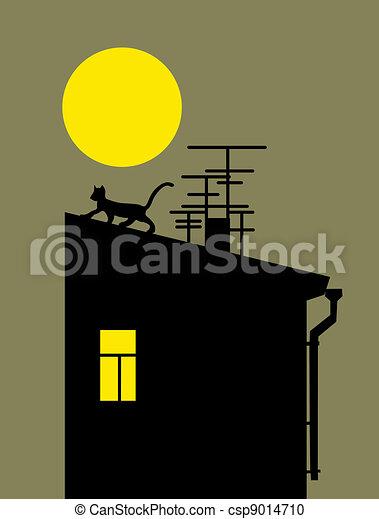 Illustration de chat silhouette sur maison toit for Toit de maison dessin