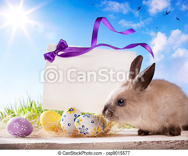 Easter greeting card with Easte egg - csp9015577