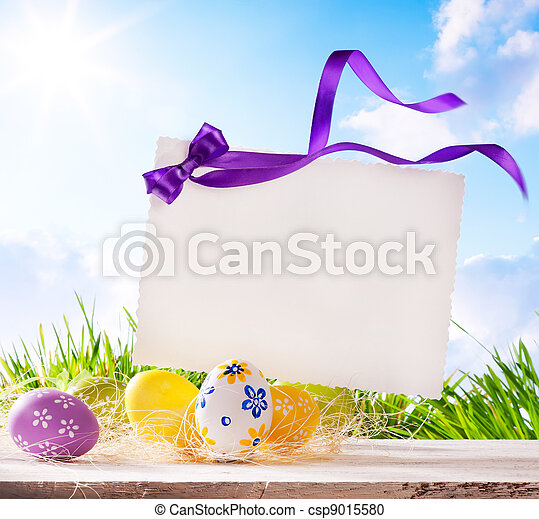art Easter greeting card with  Easter eggs - csp9015580