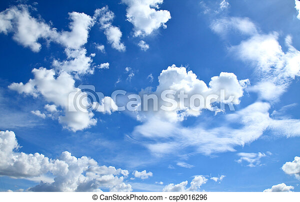 Beautiful clouds and clear blue sky - csp9016296