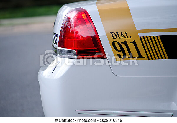 911 on the cop's car - csp9016349