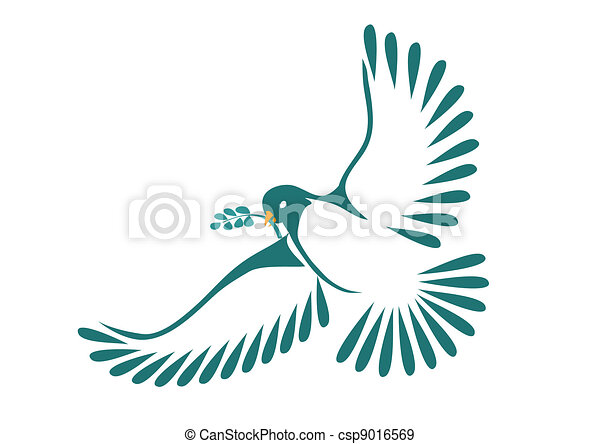 Dove with laurel leaves - csp9016569