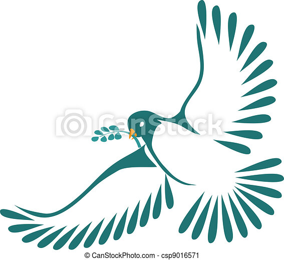 Dove with laurel leaves - csp9016571