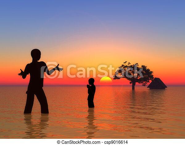 Tsunami and children - csp9016614