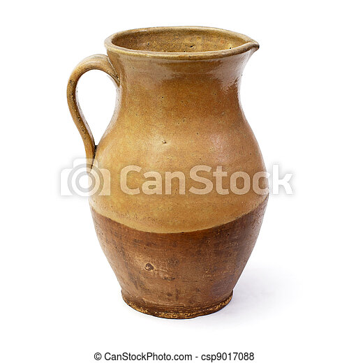 Clay jug, old ceramic vase isolated - csp9017088