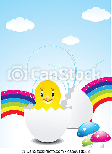 abstract colorful easter wth bird  - csp9018582