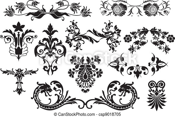 Floral calligraphic vintage design elements isolated on white background - useful elements to embellish your layout - csp9018705