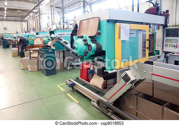 Injection molding machines in a large factory - csp9018853