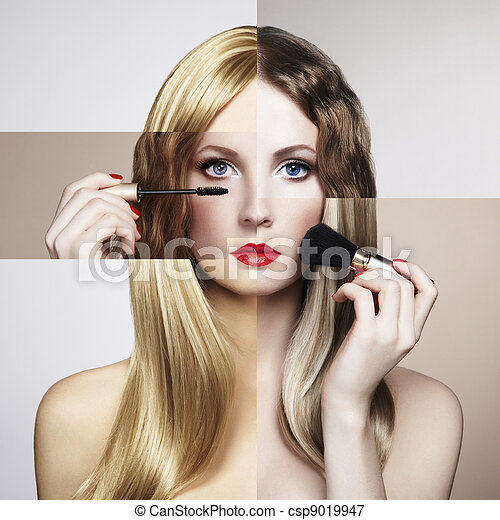Conceptual fashion portrait of a beautiful young woman - csp9019947
