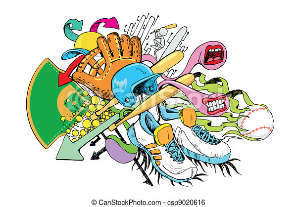 Baseball Doodle - csp9020616