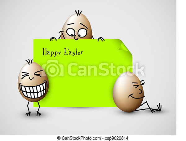 Funny vector easter card with eggs - csp9020814