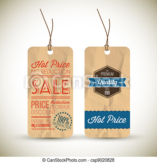 Old retro vintage grunge tags - csp9020828