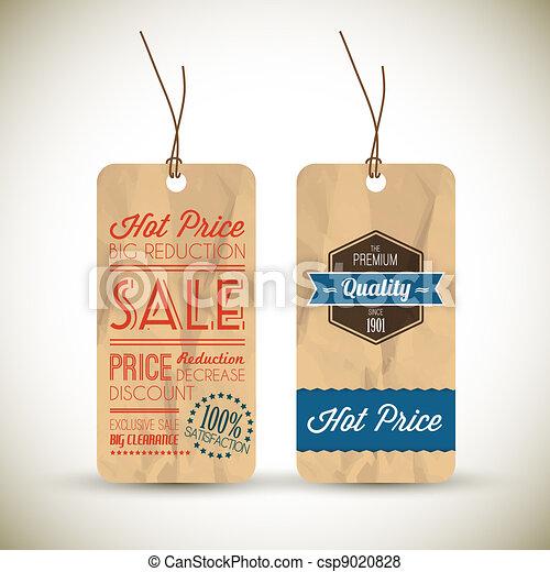 Old retro vintage grunge tags - csp9020828