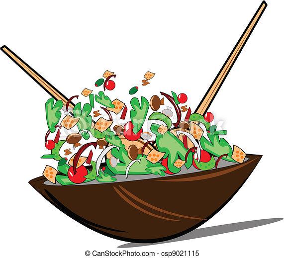 tossed salad over white - csp9021115