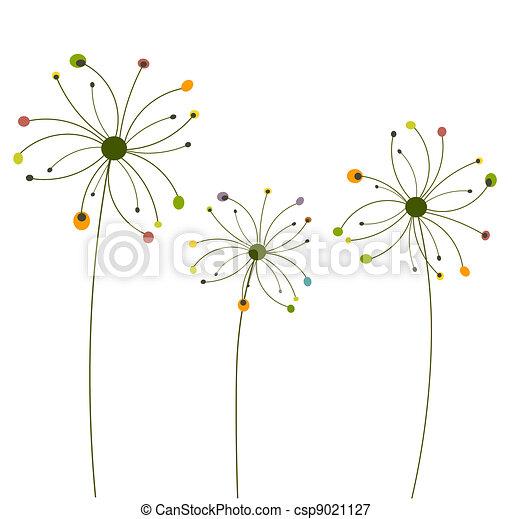 Illustrations vectoris es de r sum fleurs pissenlit - Dessin fleur pissenlit ...