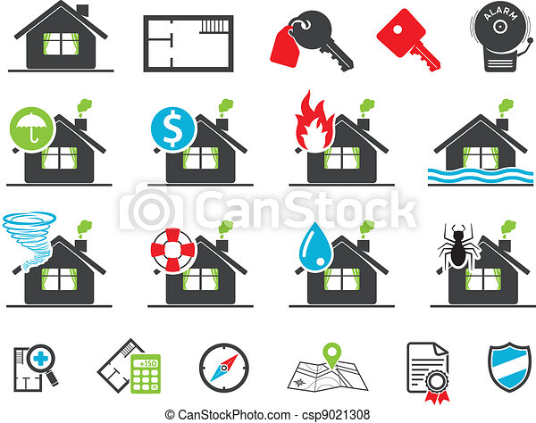 Estate insurance icons - csp9021308
