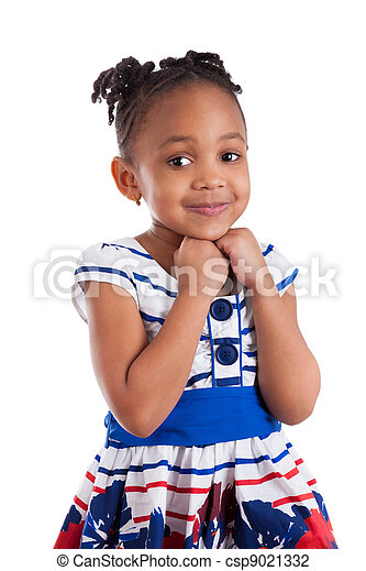 Portrait of a cute little african american girl - csp9021332