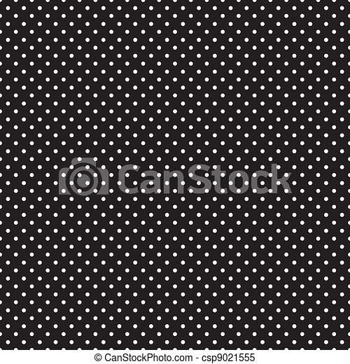 Seamless White Polka Dots on Black - csp9021555