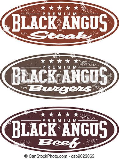 Vintage Black Angus Meat Stamp - csp9023063