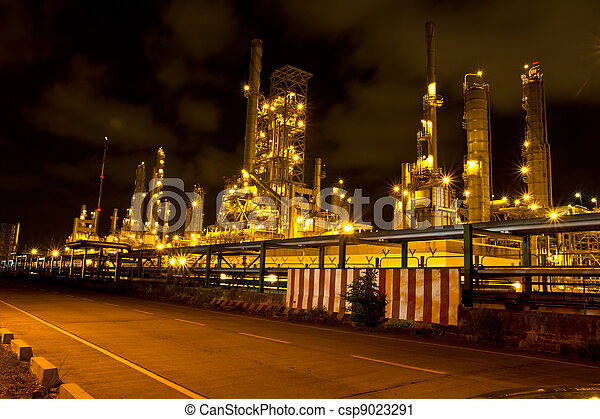 Petrochemical plant in the night , Thailand - csp9023291