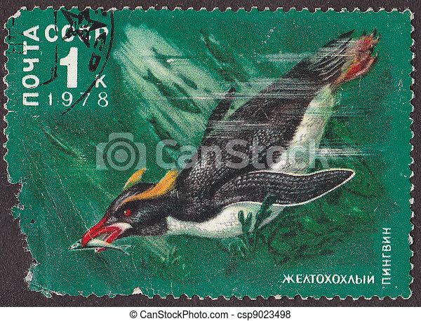 "USSR - CIRCA 1978: A post stamp printed in USSR shows penguin, series ""Antarctic Fauna"". circa 1978  - csp9023498"