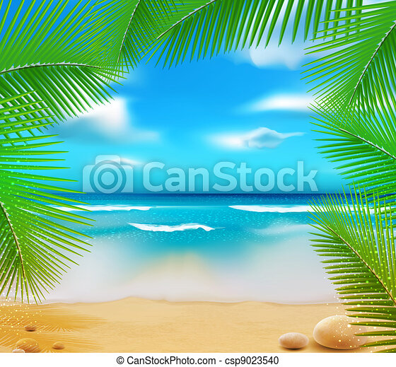 vetorny landscape with a sky-blue ocean, golden sands and palm - csp9023540