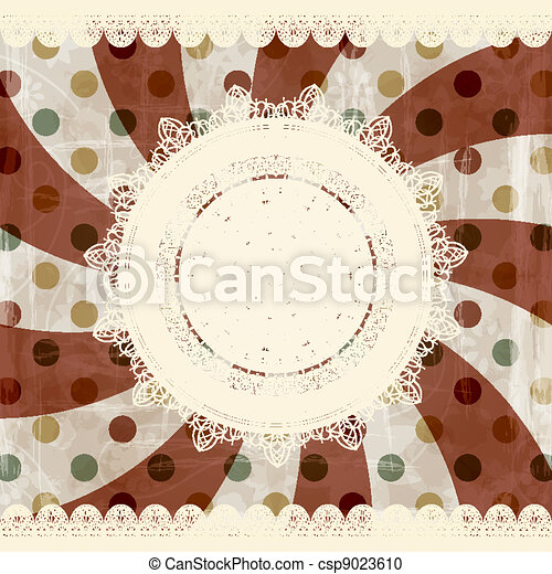 vector retro  background with lacy napkins and floral ornament behind, old paper texture - csp9023610