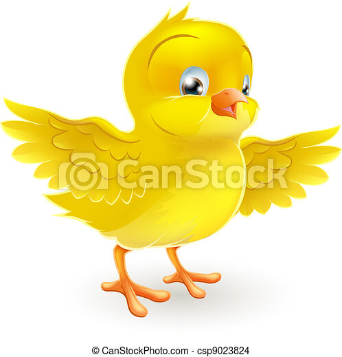 Cute happy little yellow chick - csp9023824
