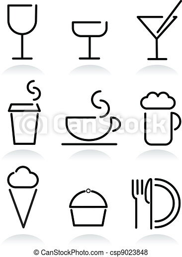 beverage and food set icons on white - csp9023848