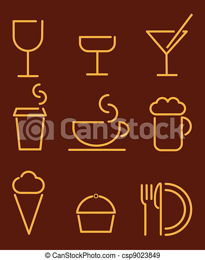 beverage and food set icons - csp9023849