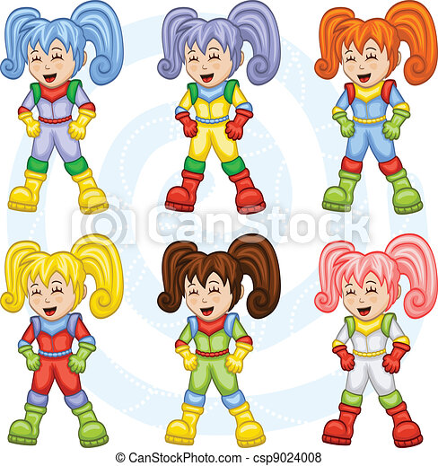 Cartoon astronauts - csp9024008