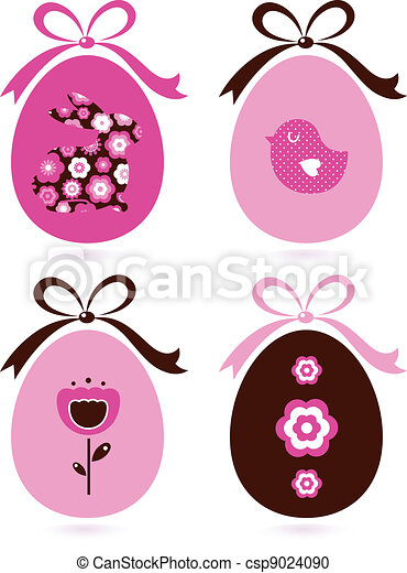 Retro easter eggs set isolated on white ( pink & brown ) - csp9024090