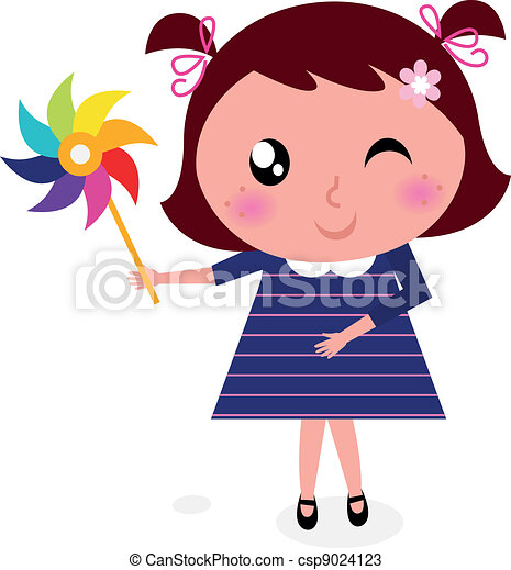 Vectors of Cute child with colorful windmill isolated on ...