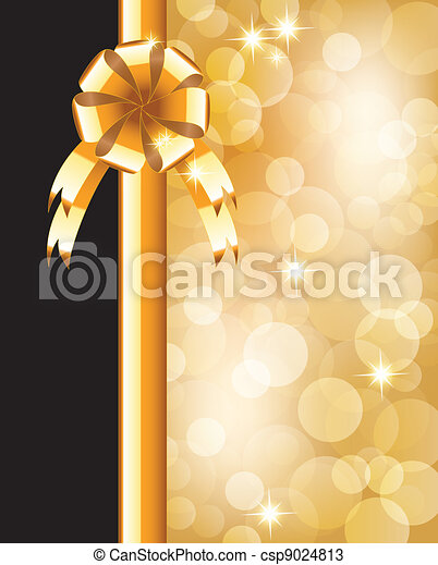 Background with bow, stars and blurry light   - csp9024813