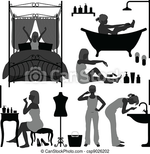 Woman Daily Routine Morning - csp9026202