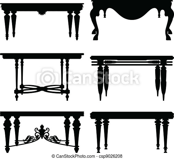 Vector Of Antique Ancient Classic Table A Set