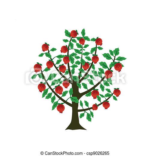 Clipart vectorial de granada rbol en decorativo for Arbol granada de jardin