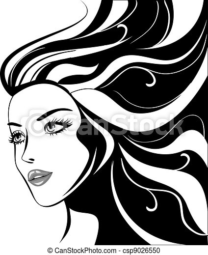 glamour girl with black hairs - csp9026550