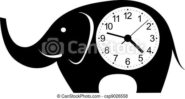 Cute wall clock elephant sticker. - csp9026558