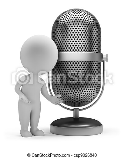 3d small people - retro microphone - csp9026840
