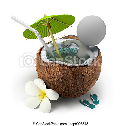 3d small people - takes a bath coconut - csp9026848