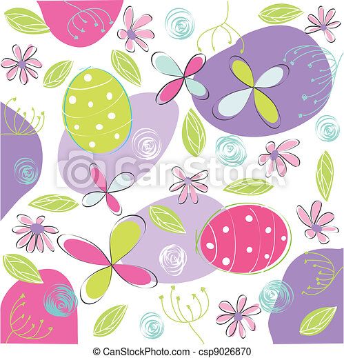 floral, easter card - csp9026870