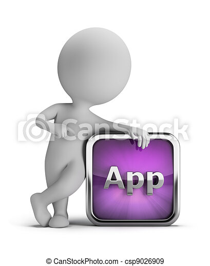 3d small people - app icon - csp9026909