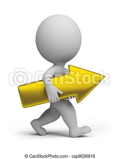 3d small people - golden arrow - csp9026916