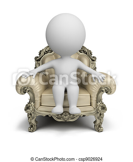 3d small people - luxurious armchair - csp9026924