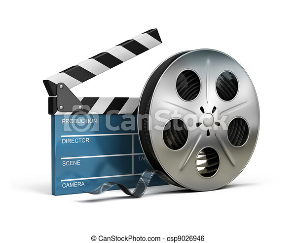 cinema clapper and film tape - csp9026946