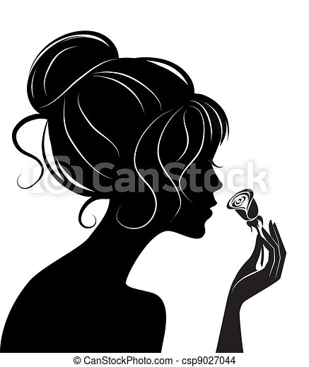 beauty girl silhouette with rose - csp9027044