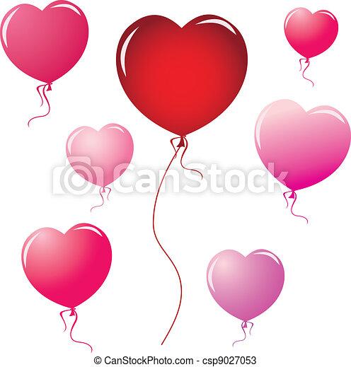 Vectors of Heart shape balloons - Heart Shape Balloons design elements ...